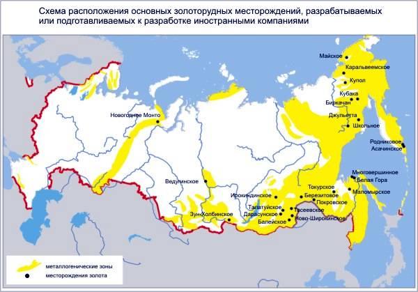 Карта добычи золота
